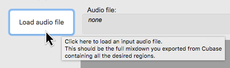 You load an audio file (audio mix-down from Cubase) by pressing this button and choosing the file.